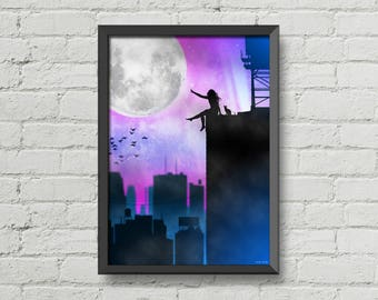 The moon,The girl and the city,Moon,girl,city,night,stars,landscape,art,artwork,new york,CHRISTMAS