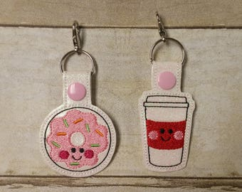 BFF Donuts and Coffee Keychains - Best Friends Keychain Set - Friendship Keychain - BFF Gift - Donuts and Coffee Zipper Pull