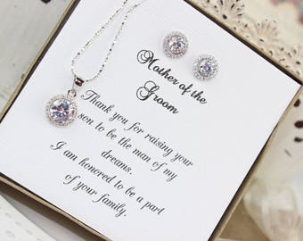 Mother of the Groom Gift Personalized Wedding Gift Sterling Silver Round Crystal Jewelry Set Bridesmaid Gift Wedding Gift