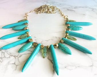 turquoise necklace / stone necklace / southwest necklace