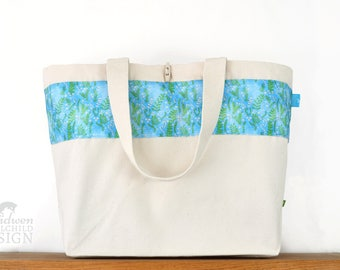 Floral Ferns Large Tote Bag, Canvas Tote, Reusable Shopper Bag, Cotton Tote, Shopping Bag, Eco Tote Bag, Reusable Grocery Bag