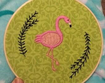 Flamingo Embroidery Hoop Art