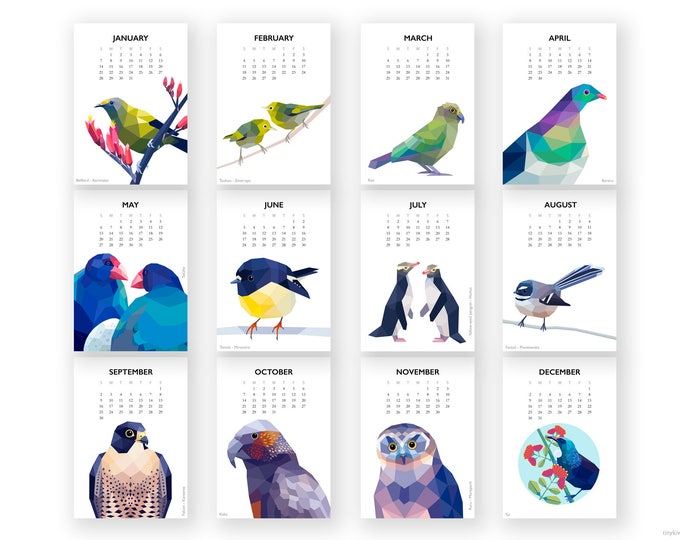 ON SALE 2018 Wall calendar, New Zealand birds calendar, Bird calendar, Geometric calendar, Flora fauna calendar, Kiwiana, Kiwi art, calendar