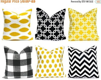 15% Off Sale Black Pillow, Yellow Pillow Cover, Yellow Throw Pillow, Black Pillow Cover, Decorative Pillow , Yellow Cushion Cover, Black Acc