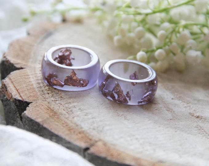 Resin Ring With Copper Flakes, Amethyst Resin Ring, Lavender Resin Ring, Engagement Ring, Anniversary Ring, Modern Materials Ring, For Her