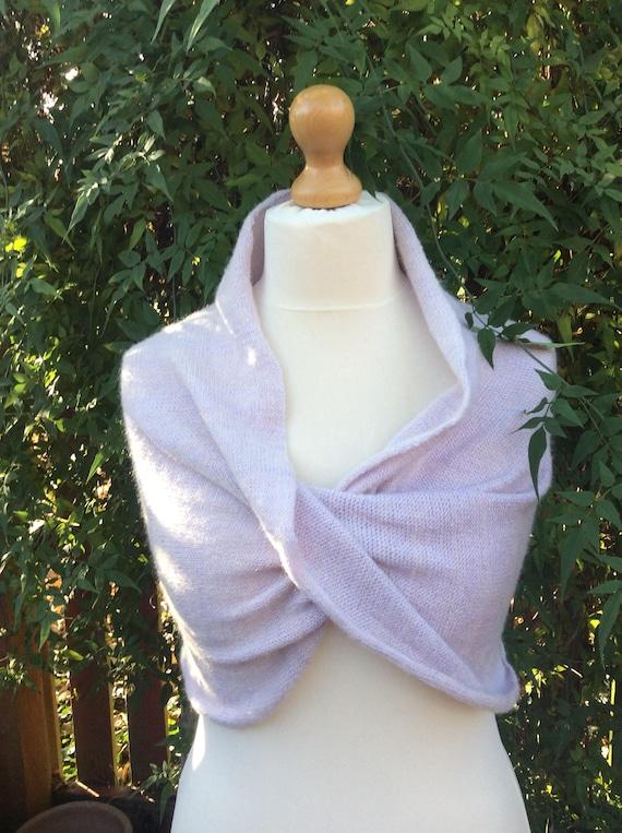 Wedding Dress shrug.Warm and soft Bridal Bolero . Pale Lavender. Bridesmaids cover up.Elegant dress knit shrug. Prom dress cover up.