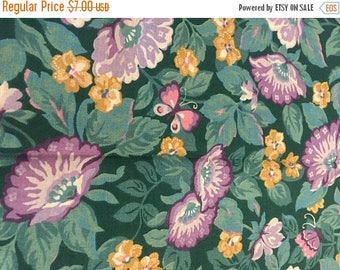 CIJ2017 Vintage Cotton Quilting Fabric, Green and Lavender Floral Print