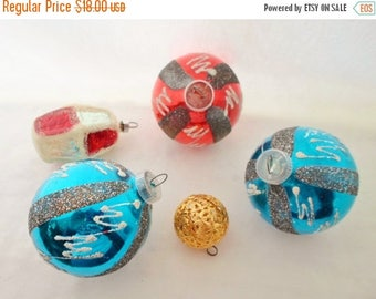 ON SALE Vintage West Germany Hand Blown Glass Christmas Tree Ornaments, 5 Bulbs, Sapphire Blue, Silver, Gold, Red, White, Christmas Decor