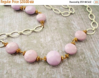 ON SALE Vintage Lavendar Bead White Enamel Chain Long Necklace, Spring, Summer, Jewelry, Accessories, Goldtone Spacers, Easter, Light Purple