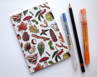 Woodland Patterned A6 Notebook - Recycled Paper | Blank Inside