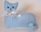 Cat Doll, Blue with Polka Dots, Pillow Tuck, Cottage Chic Cat, Cat Shape Pillow, Shelf Sitter, Stuffed Cat