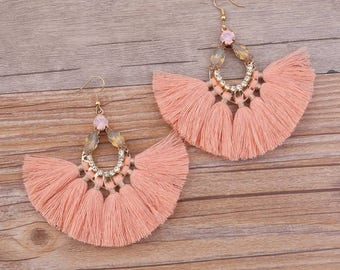 Salmon Jewel Fan Tassel Earrings