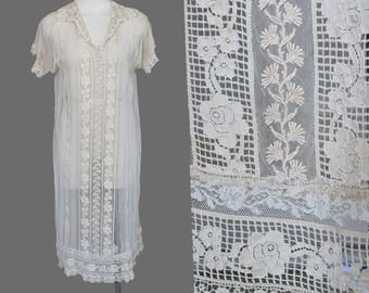 Vintage 1920s Lace Dress / Filet / Embroidered /Handmade / Net / 1910s 20s / S/M