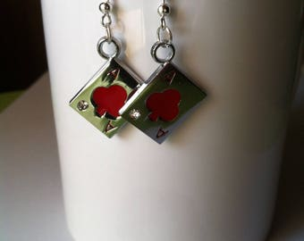 Earrings Poker cards have red clover