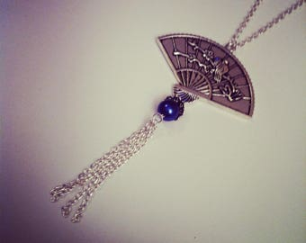Silver Blue Japanese fan and bead style chain necklace