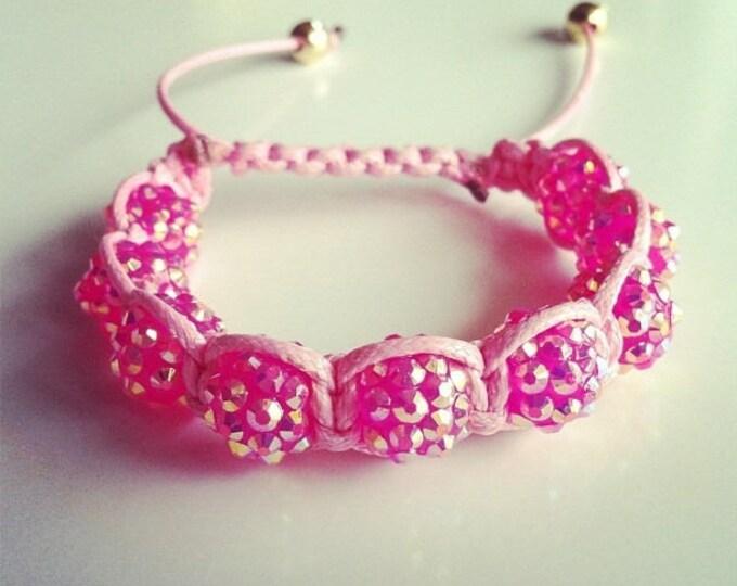 Adjustable Shamballa bracelet pink #27