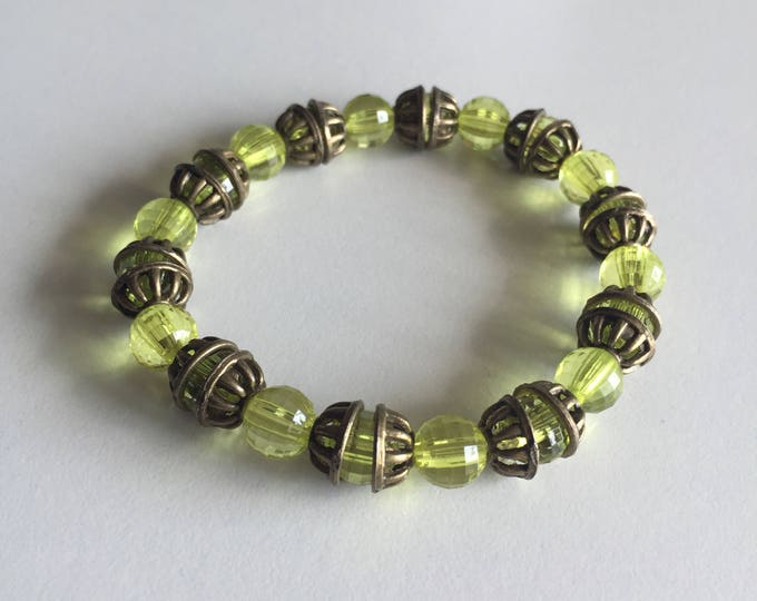 Transparent green with spacers bronze Beads Bracelet