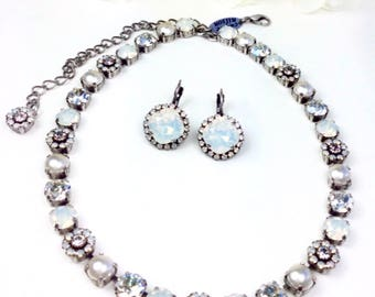 """Swarovski Crystal 8.5mm Necklace -  One Of A Kind  """" Bridal Bouquet """" - Feminine Flowers - FREE SHIPPING"""