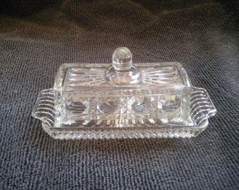 Vintage Clear Covered Butter Dish - Butter Dish - Pattern Glass Covered Butter Dish - Covered Butter Dish