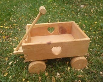 Vintage Wood Wagon - Wooden Wagon - Pull Toy - Small Wood Wagon - Natural Wood Wagon - Wagon