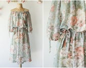 Romantic Floral Print Vintage Dress - Ethereal 1970's Off The Shoulder Dress - Earthy Green Boho Midi Dress - Size Small