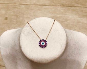 Evil Eye Necklace with CZ's in 14kt Rose Gold Vermeil or Sterling Silver