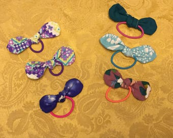 Fabric bow ponytail holders