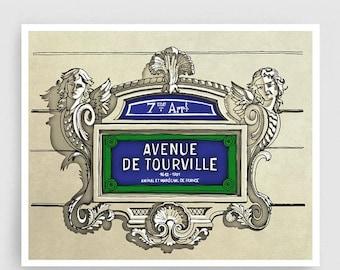 30% OFF SALE: Paris illustration - Avenue de Tourville - Illustration Giclee Fine Art Print Paris Prints Posters Blue Home Decor Architectur
