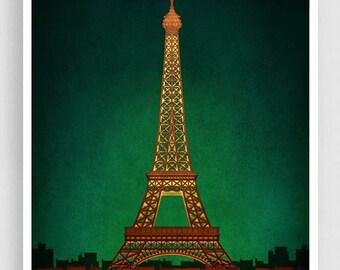 30% OFF SALE: PARIS by night - Paris illustration Art illustration Eiffel tower Art Poster Paris art Wall art Parisian home decor Living roo