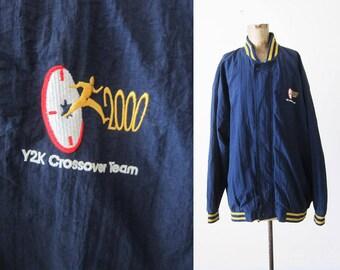 Y2K 2000 Nylon Jacket - 90s Windbreaker - 90s Hip Hop Clothing - Hewlett Packard - Blue Yellow Athletic Jacket - Letterman - XL