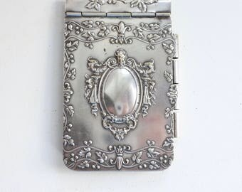 Antique French Chatelaine Silver Dance Card, Embossed, c. 1880's, Silver-plated, dance card, carnet de bal, Aide Memoire, Valentines Gift