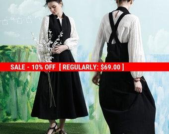 SALE! Maxi Linen Dress In Black, Linen Halter Dress, Long Linen Dress, Maxi Sundress, Little Black Dress, Linen Dress, Linen Overall, Black