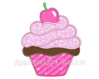 Delicious Cupcake with Cherry Applique Machine Embroidery Design dessert cake birthday party INSTANT DOWNLOAD