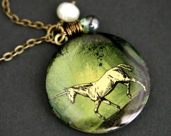 White Unicorn Locket Necklace. Unicorn Necklace with Earthy Green Teardrop and Fresh Water Pearl Charm. White Horse Necklace. Bronze Locket.