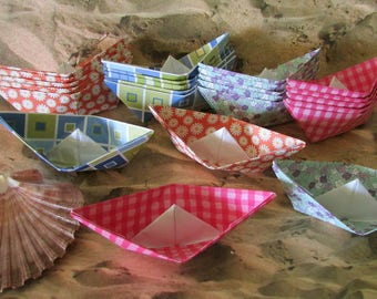 Pool Party Beach Picnic 24 paper boats party decor lot of 24 boats cake cupcake topper