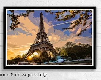 Eiffel Tower Sunset - Paris Landmark Pop Art Print and Poster France Monument Landmark Europe Travel Home Decor Canvas