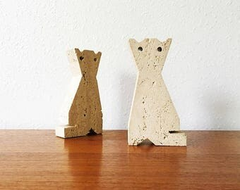 ON SALE Mid Century Italian Travertine Cat Bookends / Raymor / Mannelli