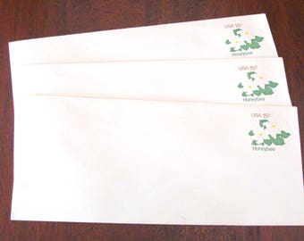 3 1970's Honeybee Postage Paid Business Envelopes Unused, Pre-Marked 15 Cents