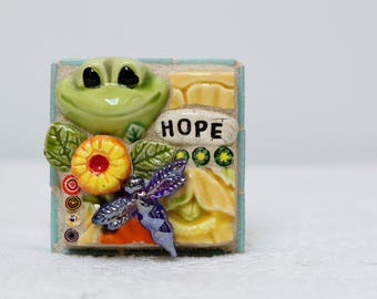 HOPE, FROG, DRAGONFLY, mosaic art, mosaic