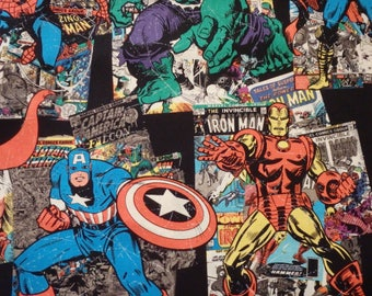 Marvel Comics Fabric, Vintage Character Toss, Captain America, Incredible Hulk, Thor, Iron Man, Avengers, Quilting Cotton, By the Half Yard