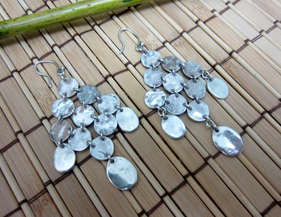 Kronleuchter Ohrringe Silber Ton Metall Haken glänzend zeitlos