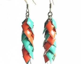 Fabulous Turquoise and Orange Diamond Drop Cluster Earrings