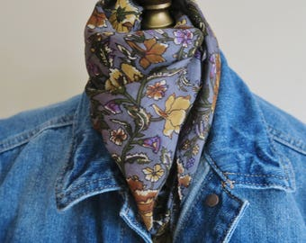 FLORAL silk neckerchief, grey silk pochette, gray square scarf, carnation pattern, small silk scarf, dark gray, silk hair wrap,