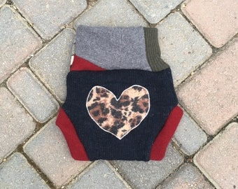 Cloth Diaper Cover, Wool Soaker, Shorties, Cloth Nappy Cover - Dark Blue with a Cheetah Print Heart Applique - Size Medium