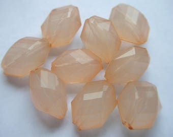 Vintage Lucite Faceted Peach Polygon Beads x 9   # WWW 14