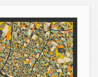 AUSTIN MAP (Giclée Fine Art Print, Photographic Print or Poster Print) dark version