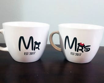 Mr and Mrs Disney Mugs Established | Disney Wedding Mugs | Newlywed Gift | Disney Couple | Disney Coffee Cup | Mickey and Minnie Mugs