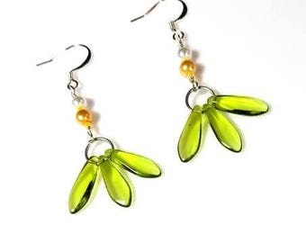 lime green dagger bead yellow white pearl earrings hypoallergenic nickel free earrings long dangle beaded silver jewelry gifts for her