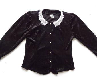 Women's Vintage 80's Velour Blouse Top UK 14