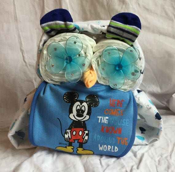 Mickey Owl Diaper Cake Baby Shower Gift